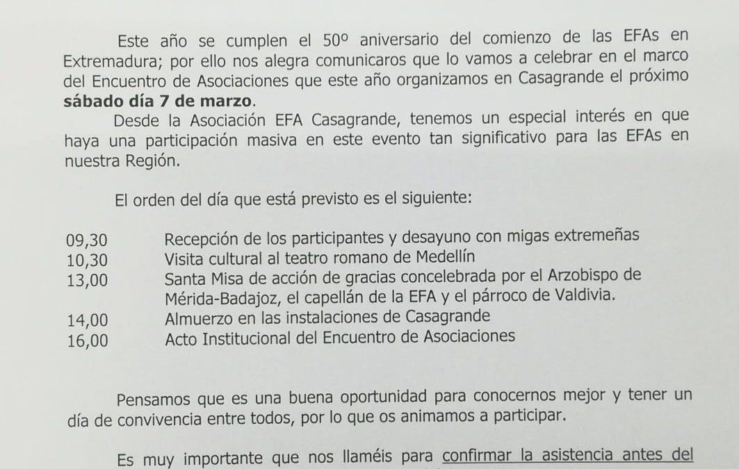 Encuentro anual de asociaciones y 50 aniversario de las EFAs de Extremadura.